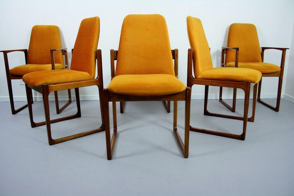 X 6 Gerald Easden Module Sleigh Legs Dining Chairs Mid Century