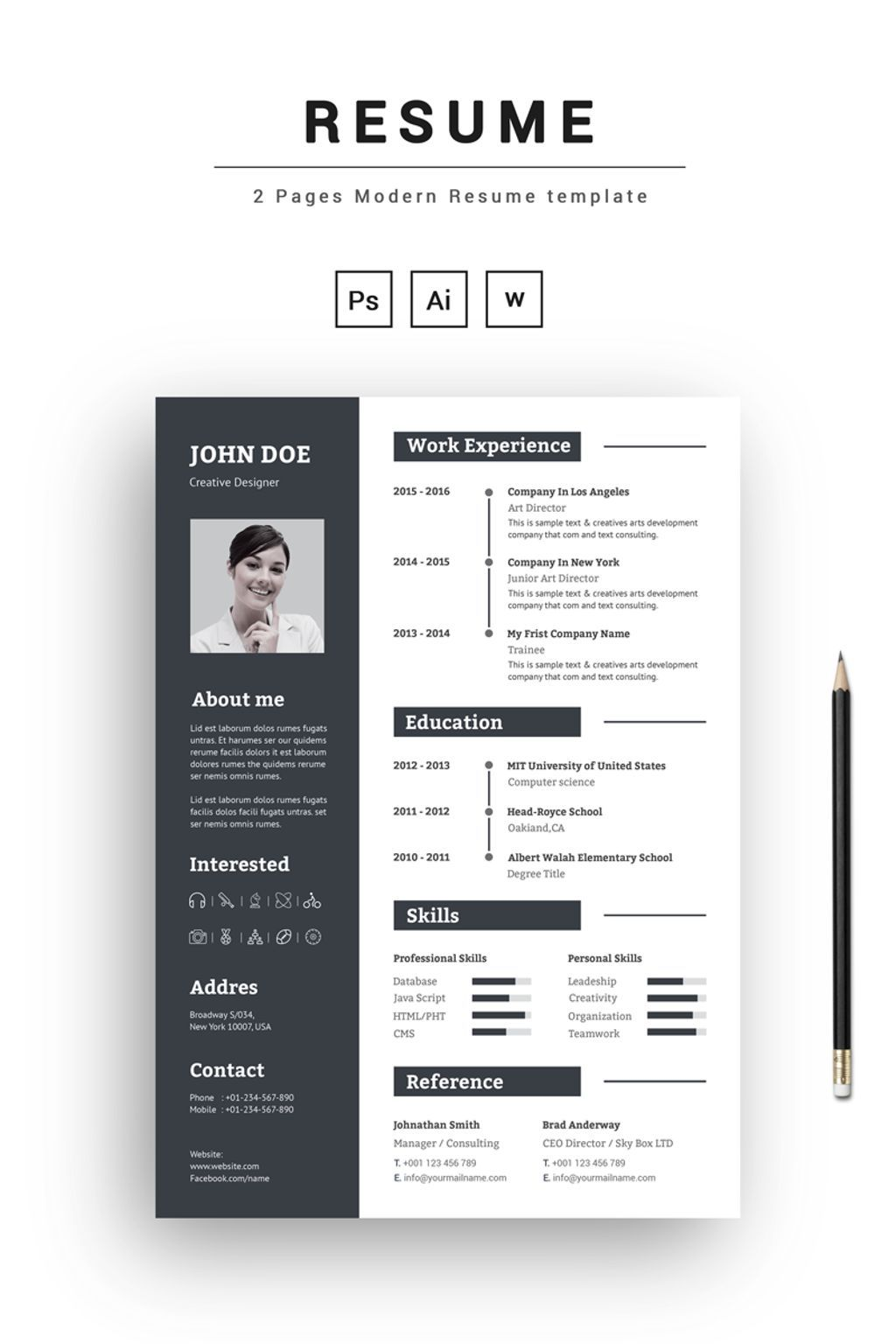 2 Pages Modern Resume Template Resume Resumetemplate Cvtemplate Cv Cvdesign Resumedesign Https Www Templatemonster Desain Cv Cv Kreatif Desain Resume