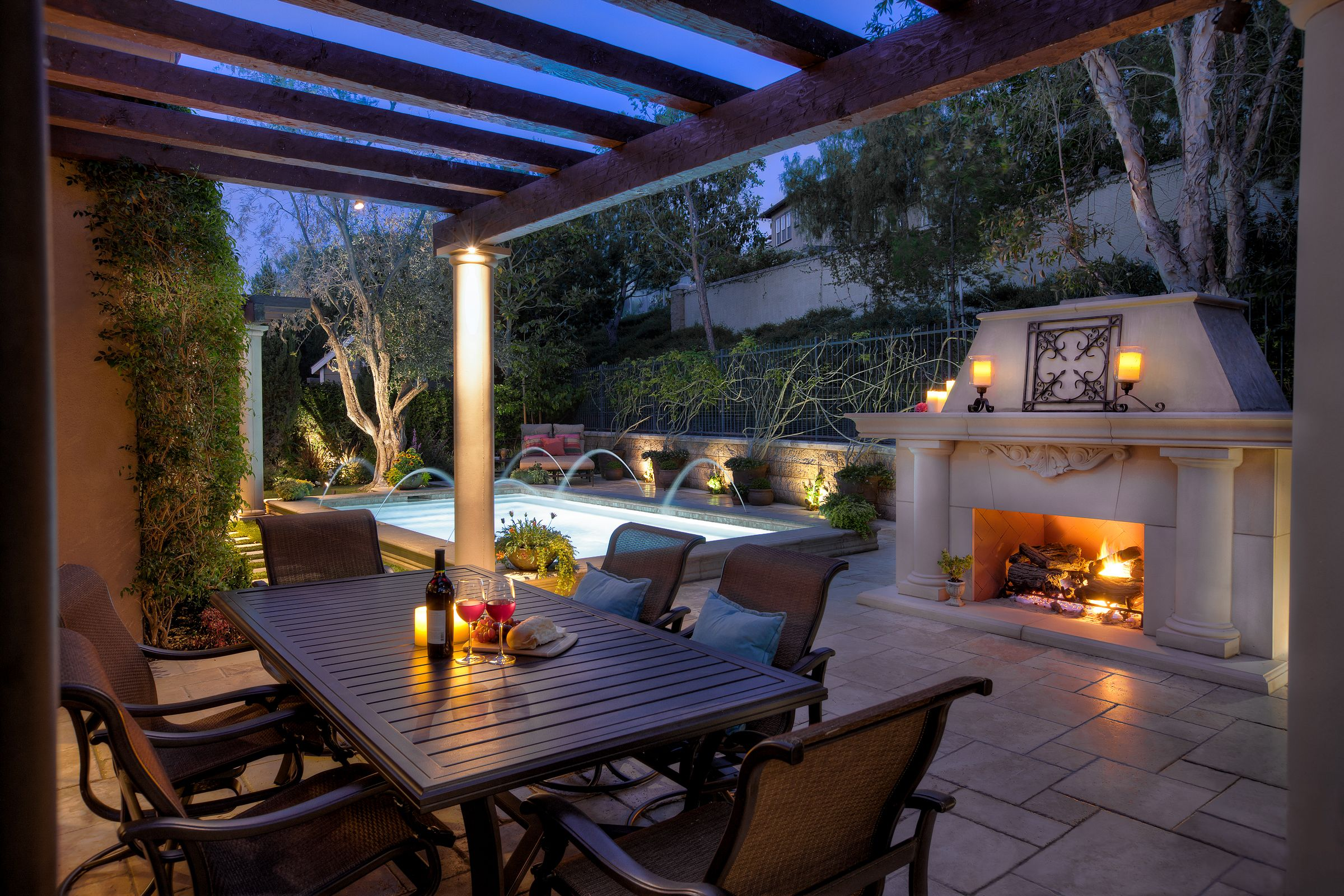 beautiful small yard pool fireplace home pinterest small