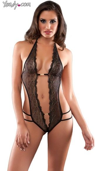 Crotchless Lace Teddy With Rhinestones 52ea9bbc1b2