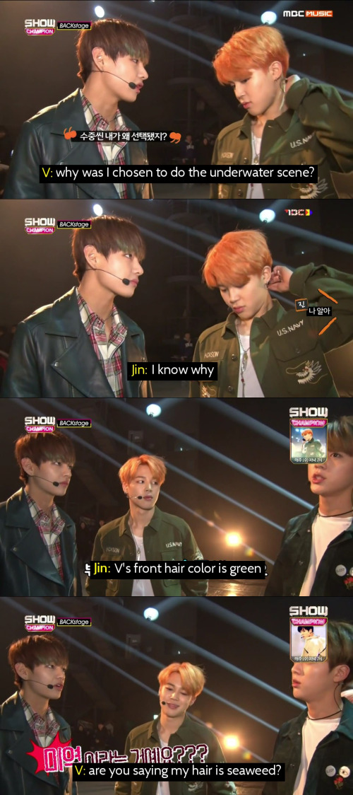 Why Taehyung did the underwater scene in the 'Run' MV, according to Jin.