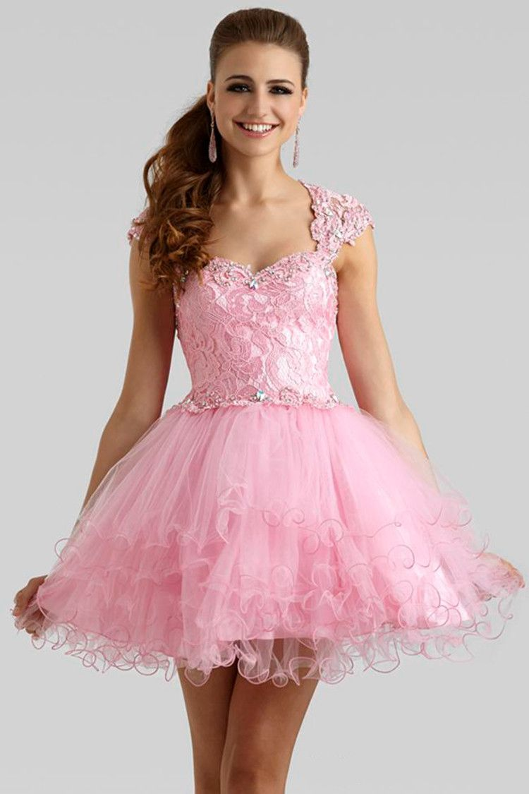2015 Hot Semi Formal Dress Lace/Crystal 8th Grade Prom Dresses Cap ...