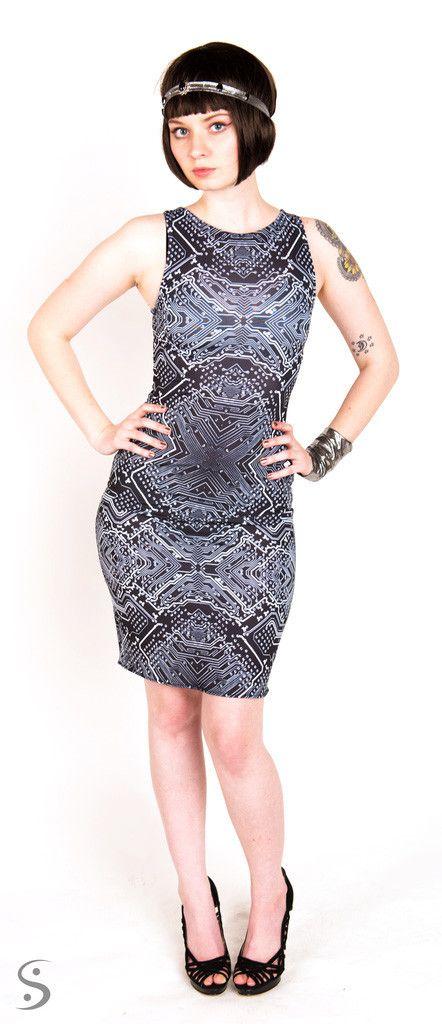 Startup Girl Circuit Print Dress #circuit #computer #smart #geeky #fashion #dress #black #lbd #geekchic #womeninstem http://www.shenovafashion.com/collections/tech/products/startup-girl-circuit-print-dress