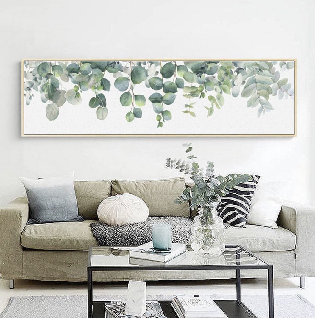 Eucalyptus Print Above Couch Wall Art Living Room Large Wall Decor Wall Decor Living Room