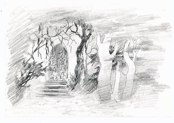 Secret garden Original vintage sketch art by Lastivkapapers