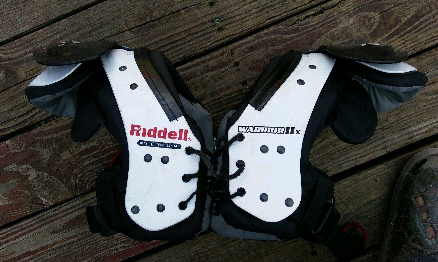 Riddell warrior iix black white youth football shoulder