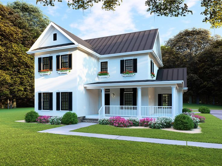 074H0080 TwoStory Farmhouse Plan; 4 Bedrooms, 2.5 Baths