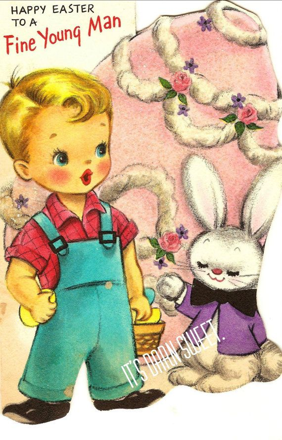 Vintage greeting card 1950s Hallmark boy Glittery Vintage Easter – Hallmark Easter Cards