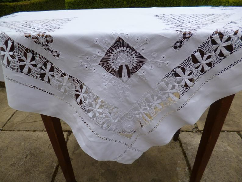 Linen and Tenerife Work, Small Tablecloth, Tea Tablecloth ...