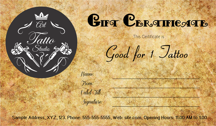 Tattoo gift certificate template gift certificate for Tattoo gift certificate template