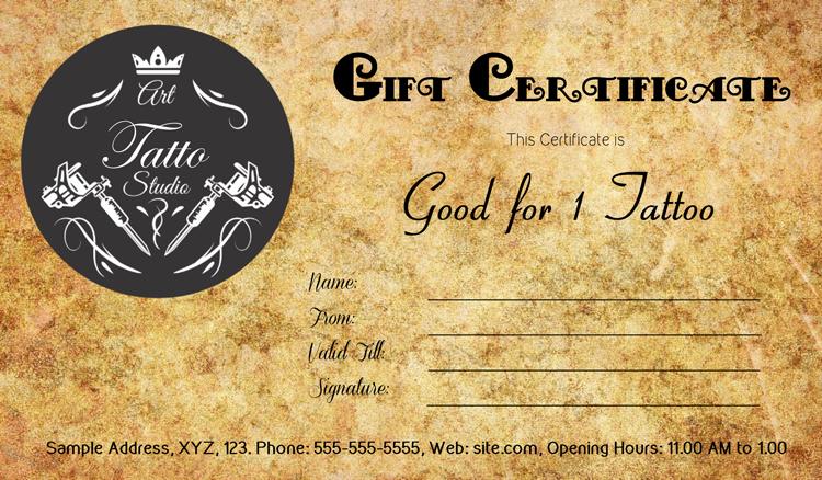 Tattoo Gift Certificate Template Gift Certificate Template Card