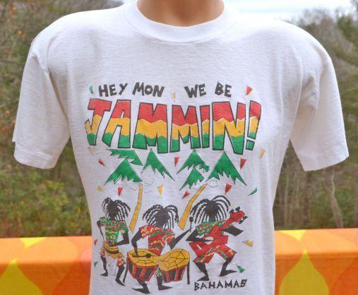 original vintage 80s t-shirt we be JAMMIN' bahamas rasta reggae tee shirt Medium burnout soft thin