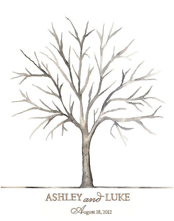 xx SMALL Ashley and Luke Wedding Thumbprint Tree  by fourch, $70.00