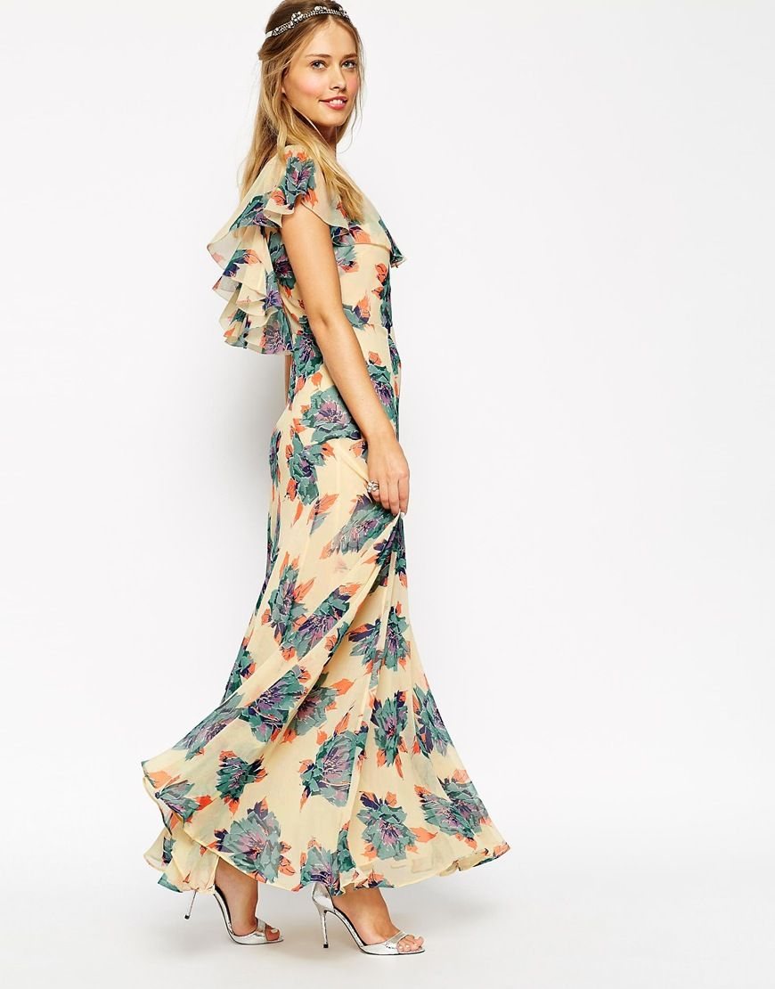 48a7c32d4b8 Image 1 of ASOS WEDDING Maxi Dress With Frill Detail In Pretty Floral Print