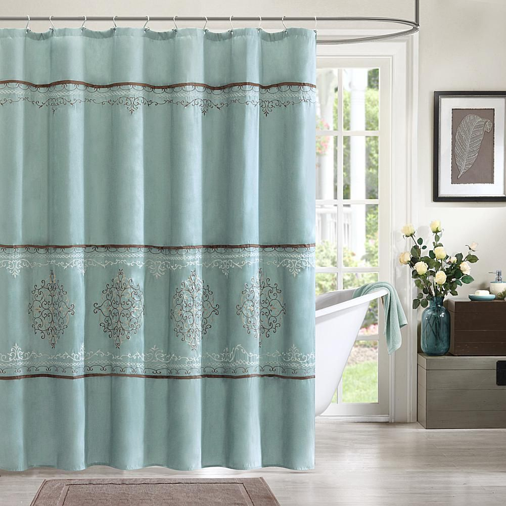 Madison Park Brussel Polyester Shower Curtain Blue 8171418