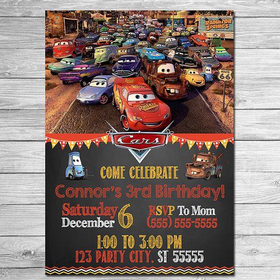Disney Cars Invitation Chalkboard Lightning McQueen Birthday
