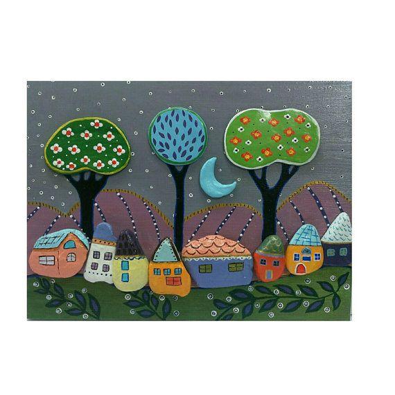 Owl Wohndesign: Pebble Art Happy Village Handpainted Stones Stone By
