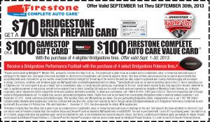 With the purchase of 4 eligible Bridgestone tires: Get a ...