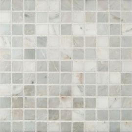 Alya Tile 1x1 White Carrara Marble Mosaic Tile Marble Square Honed Marble Mosaic Tiles