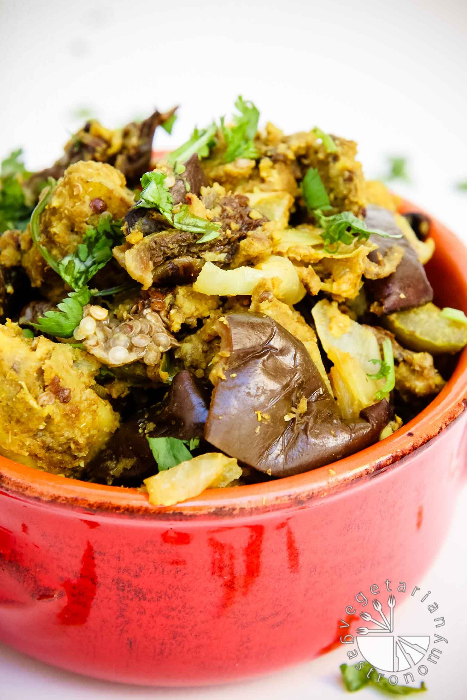 Indian Spice Stuffed Eggplants & Potatoes (vegan, gluten-free) | A traditional popular Indian vegetable dish made healthy and easy! Try your hand at this version of Indian Spice Stuffed Eggplants & Potatoes | Vegetarian Gastronomy