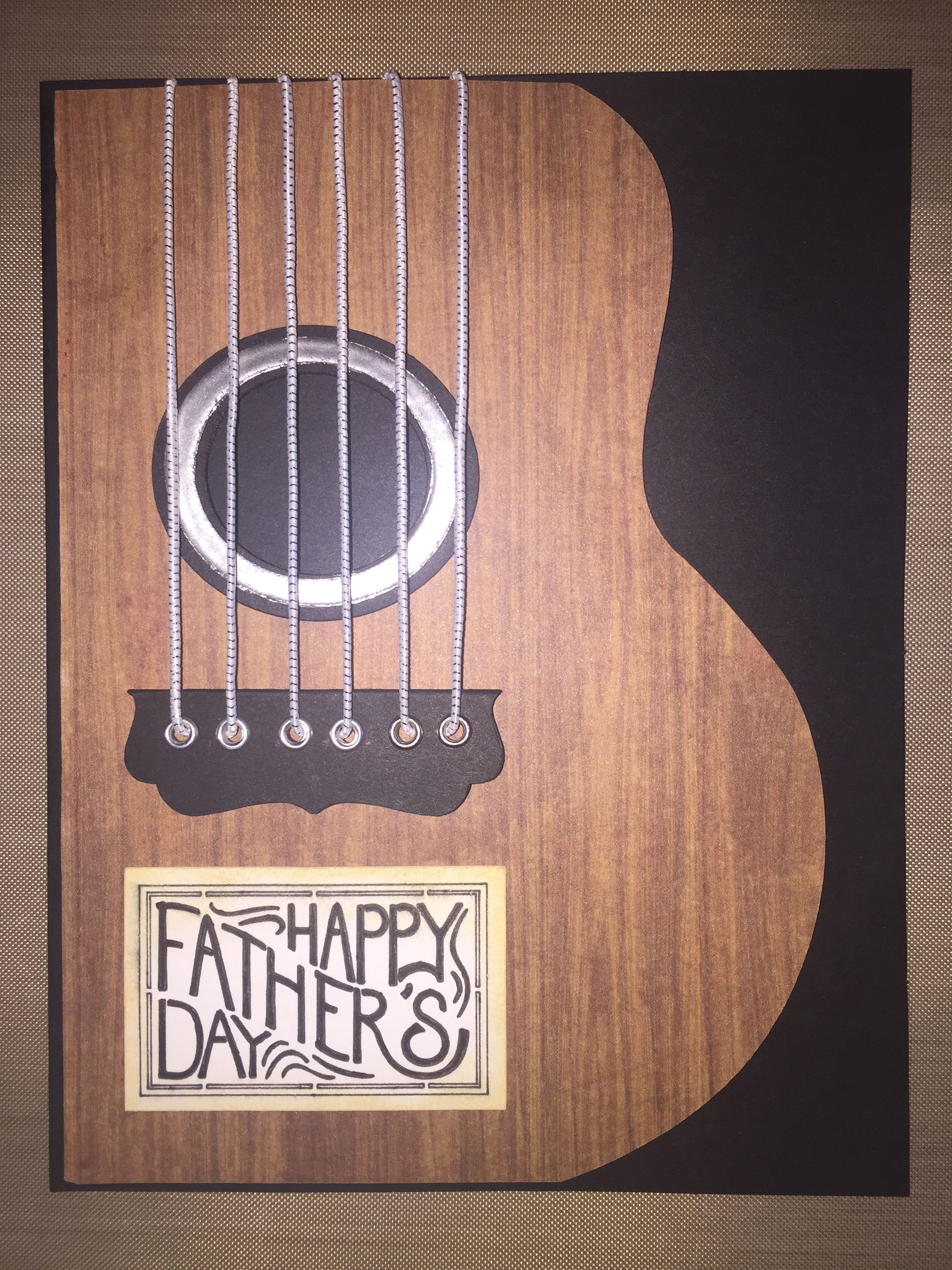 Guitar card for Father's Day using Cricut