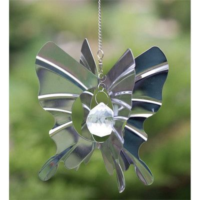 Wind & Weather Steel Butterfly Crystal Globe Wind Spinner