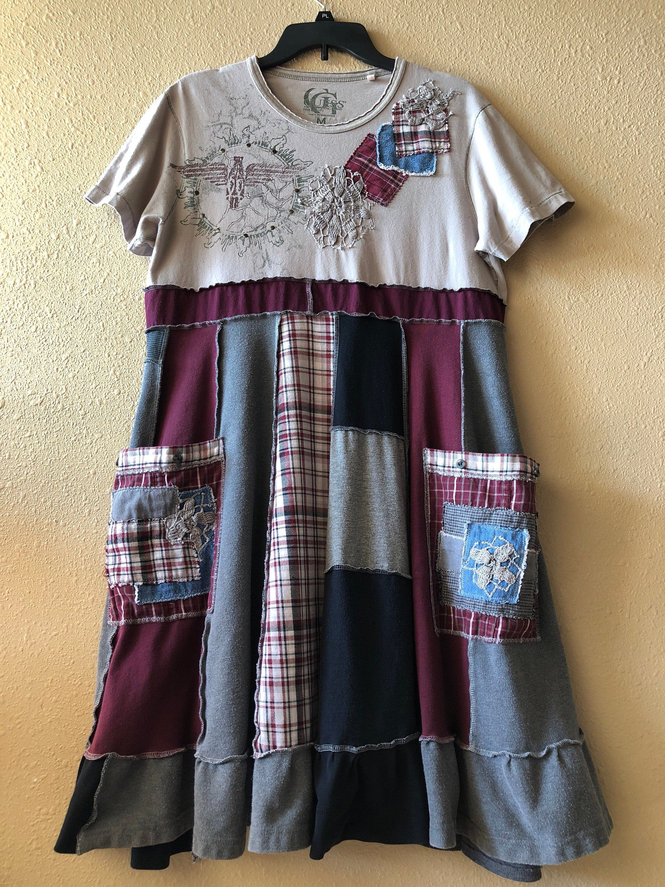 f02dfe51ca Excited to share this item from my  etsy shop  Upcycled Boho Gypsy  Distressed Tattered Patchwork T-Shirt Dress