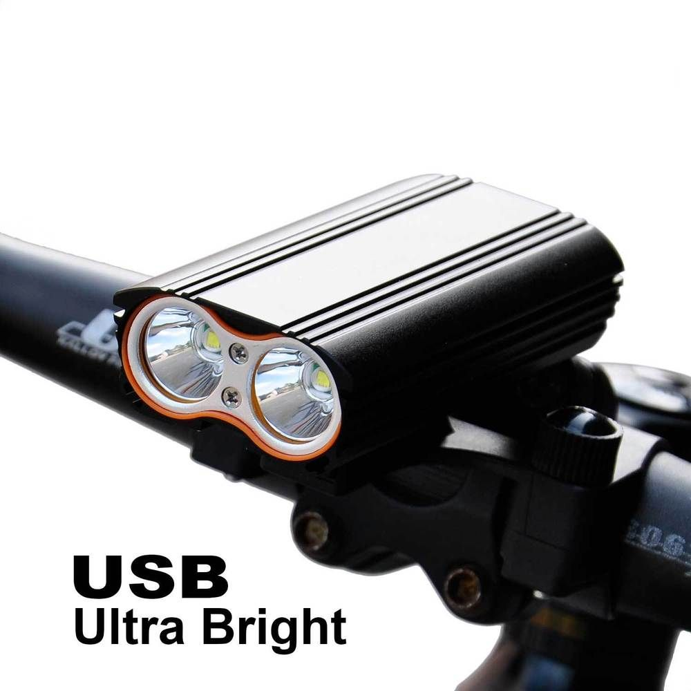 T6 Bicycle Front Light USB Rechargeable Super Bright MTB Bike Cycling LED Lamp
