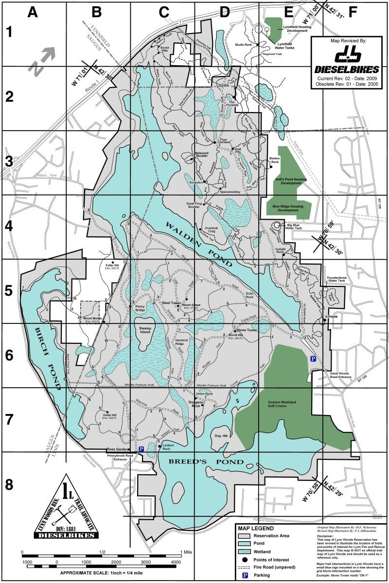 Lynn Woods Mountain Bike Trail Map Official Open April 15 to