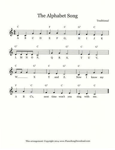 The Alphabet Song Alphabet Songs Hymn Sheet Music Songs