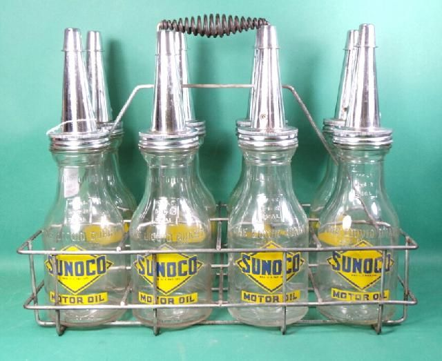 Vintage Oil Bottle Carrier And Sunoco Oil Bottles Vintage Oil Cans Oil And Gas Vintage Gas Pumps