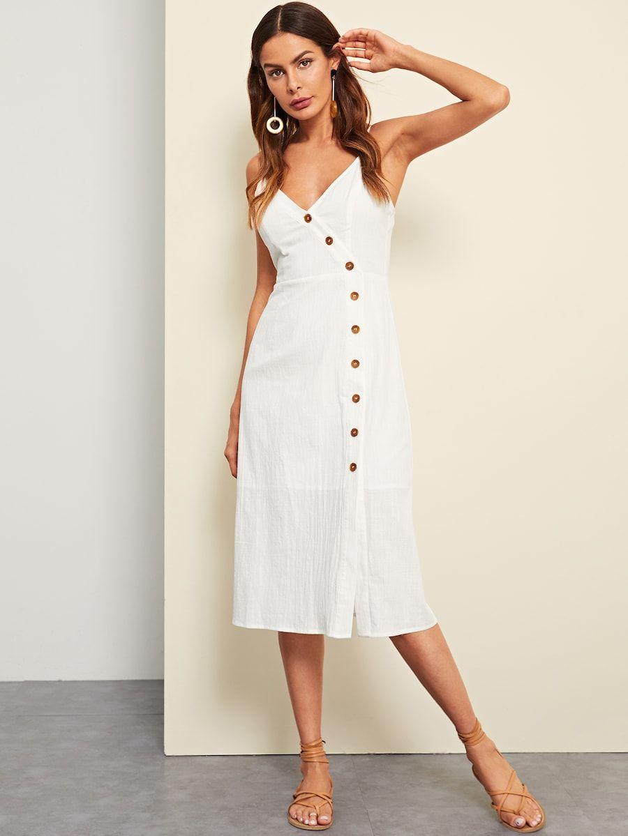 bb80e39ce2 Buttoned Wrap Front Cami Dress -SheIn(Sheinside) | dresses | Dresses ...