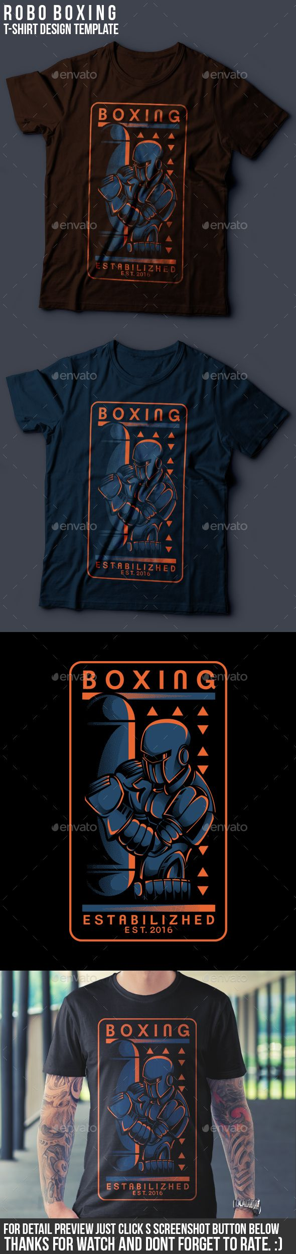 robo boxing tshirt design eps template martial merch download