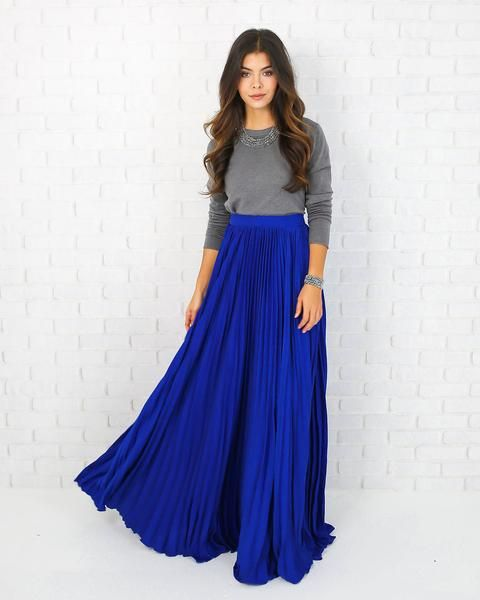 5633a0ae32290 Elegance Maxi Pleated Skirt - Cobalt Blue | PARTY PERFECT in 2019 ...