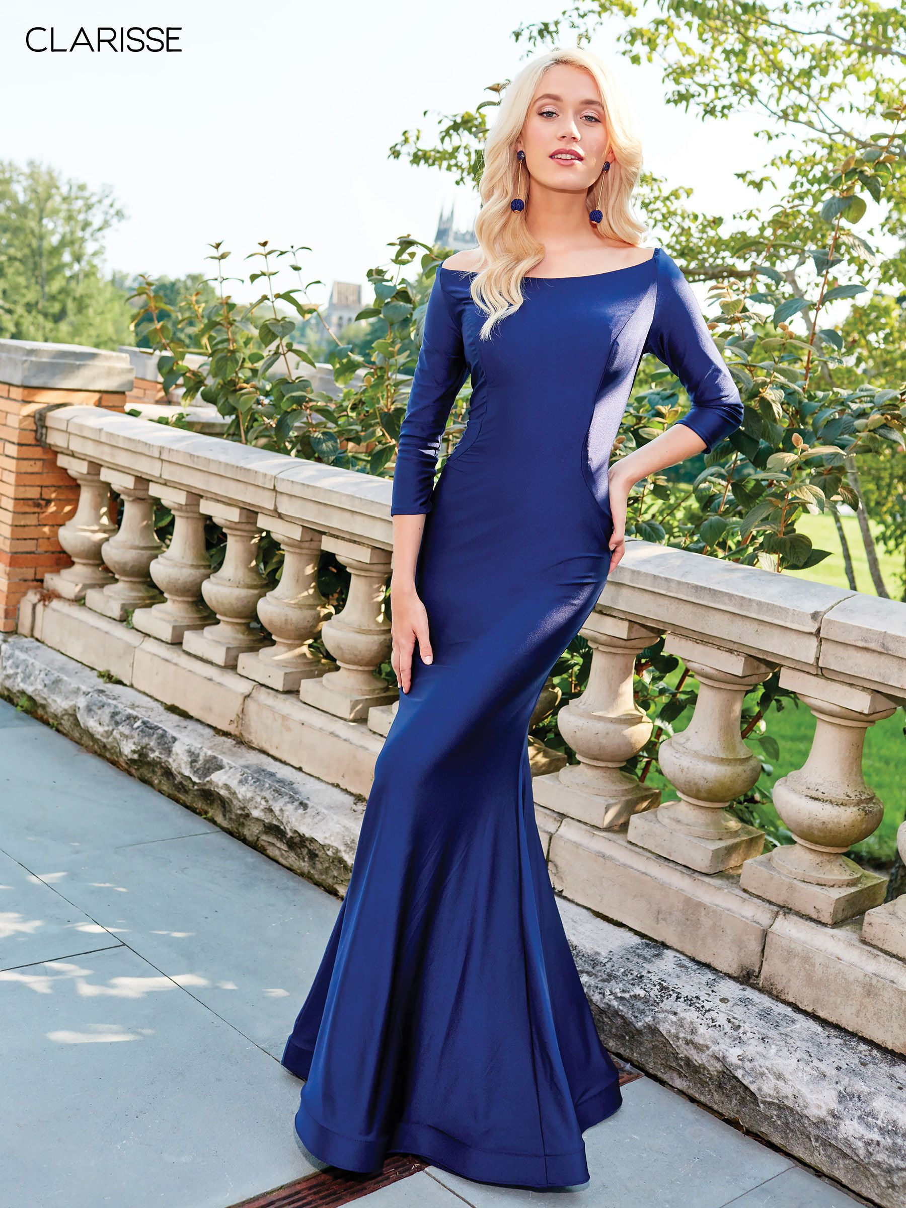 3841 Navy Silky Jersey Long Sleeve Fit To Flare Prom Dress