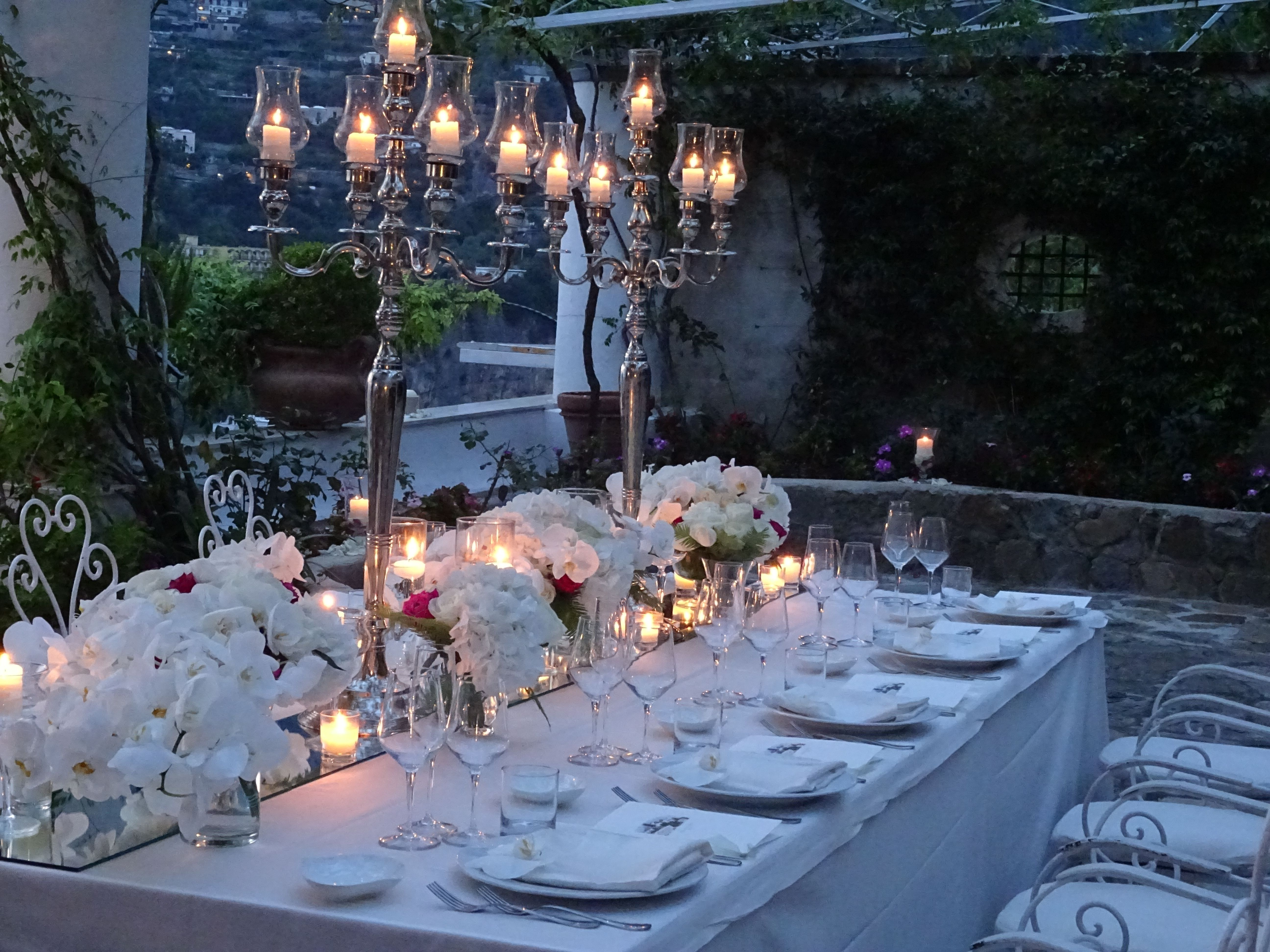 Sample Work  Table Setting Including Candles With Glass Around