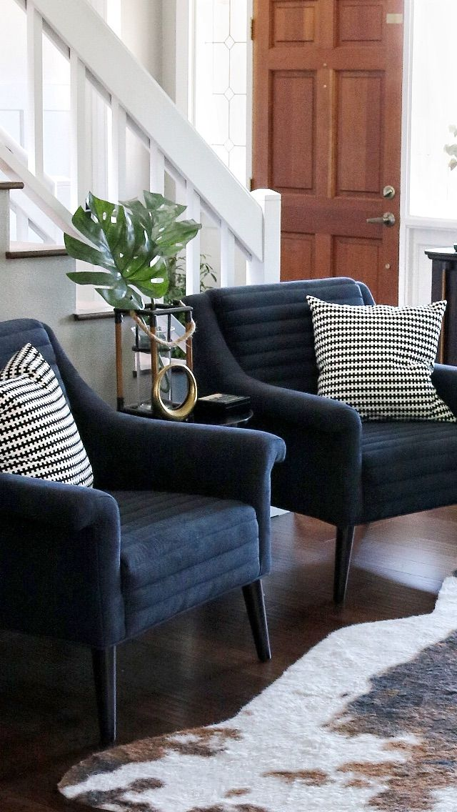 Navy Blue Midcentury Modern Style Chairs Blue Accents Living Room Farm House Living Room Living Room Chairs