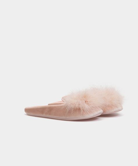 d3af47c546 Marabou feather slippers - New In - Winter SALE 2016 trends in women  fashion at Oysho