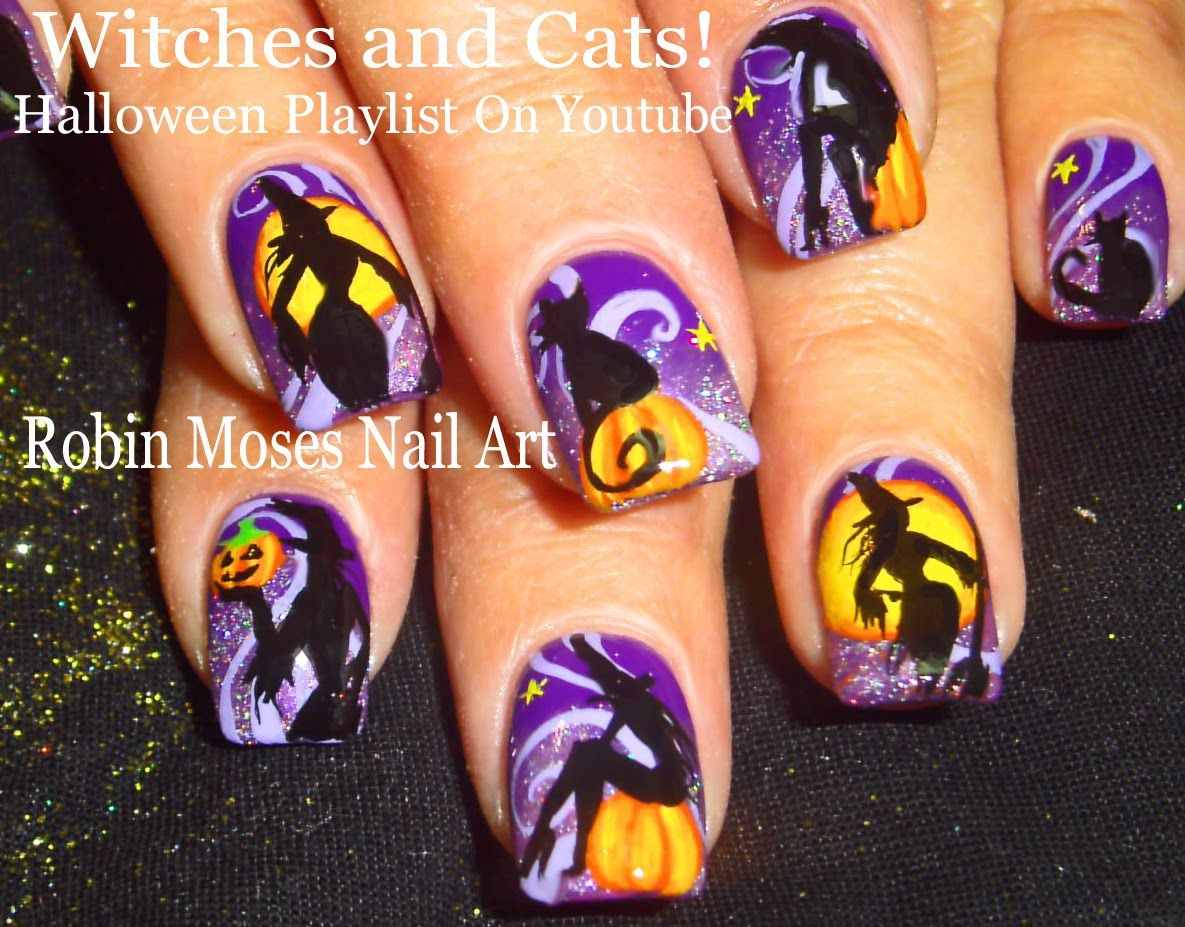 Halloween Nail Art | Witch Nails! | Pumpkin and Witches Nail Design ...