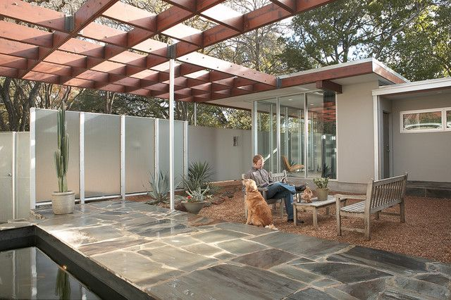 Impressive Mid Century Patio With Tough Modern Pergola Stone