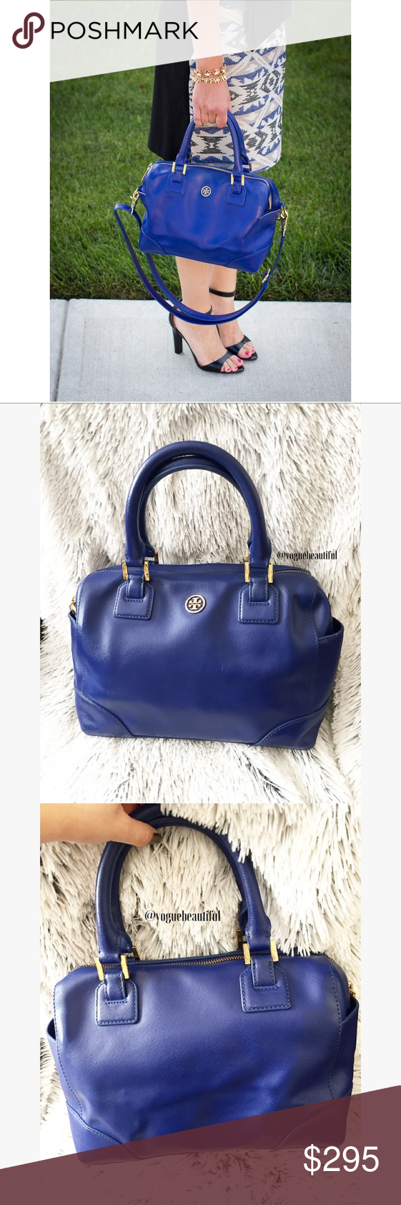 Tory Burch Robinson Middy Cobalt Blue Handbag Gorgeous cobalt blue 100% authentic Tory Burch Robinson Middy handbag • Preloved, has some minor wear to the corners {see additional listing for more photos} • does not come with crossbody strap or dustbag • DIMENSIONS; 12 inches across x 7.5 inches height x 4.9 inch strap drop • size comparison in first photo {credit: mixmatch.com} • Gold hardware • 2 exterior pockets • 3 interior pockets, including 1 zippered pocket • NO TRADES‼️ • color may…