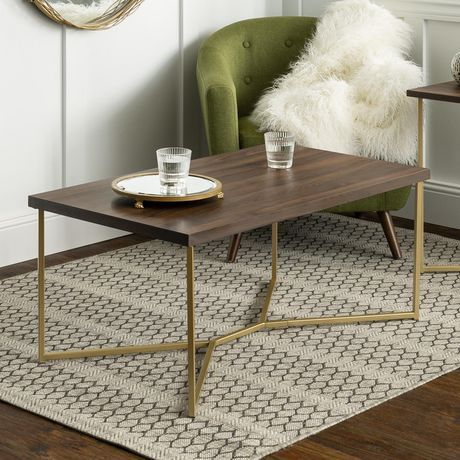 Manor Park Mid Century Modern Gold Rectangle Coffee Table Dark