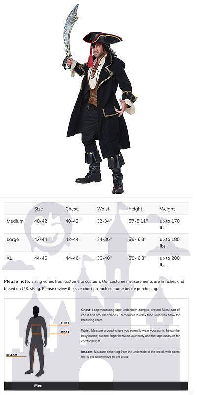 halloween costumes men mens deluxe pirate captain halloween costume buy it now only
