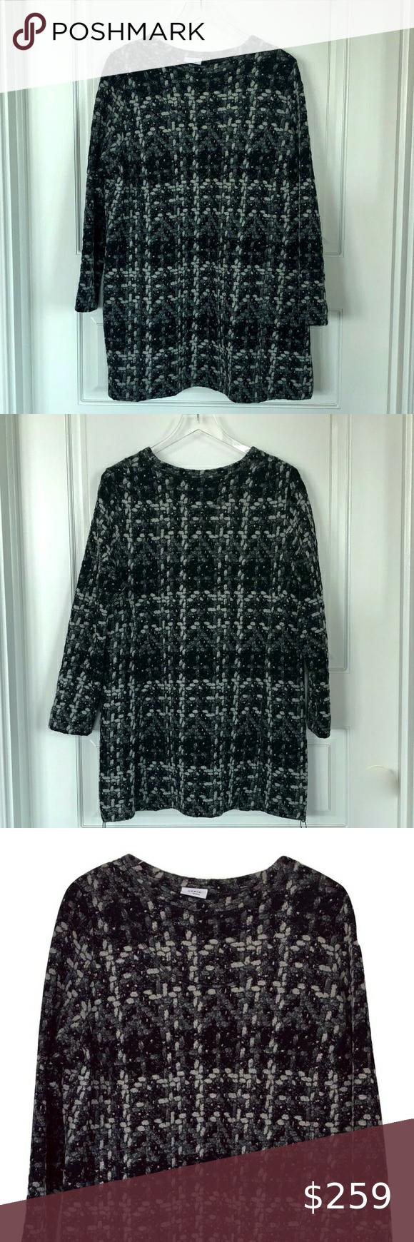 Akris Punto Black Cotton Tweed Tunic Top