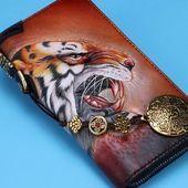 Handmade Leather Tiger Tooled Mens Short Wallet Cool Clutch Wristlet Bag Chain Wallet Biker W