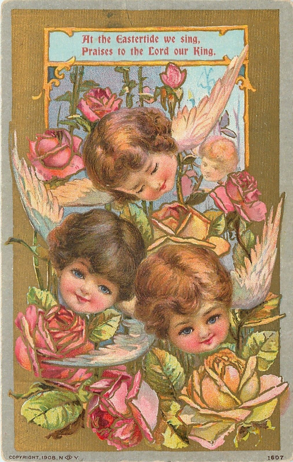Winged Baby Angel Faces in Rose Garden~Easter Blooms | baby face ...