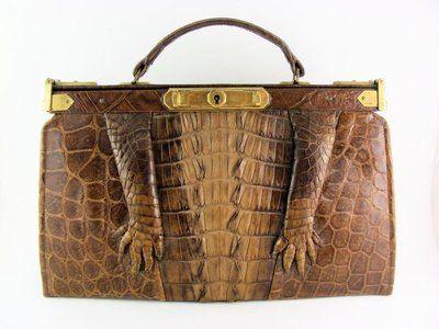 515ba1457df9 Details about Vintage Art Deco 1930's Authentic Crocodile Skin Purse ...