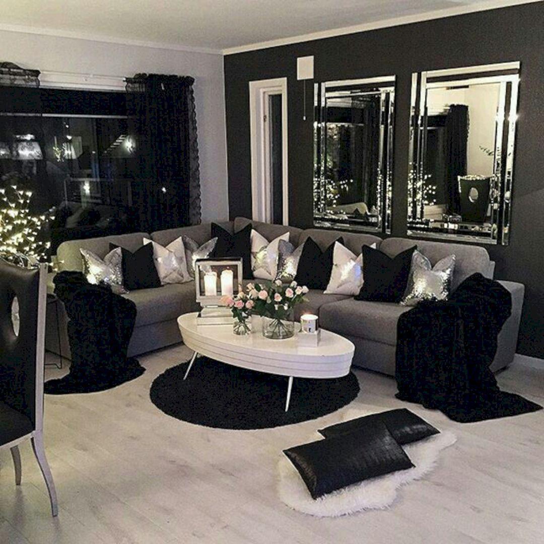 80 Stunning Small Living Room Decor Ideas For Your Apartment 06 Decoor Small Living Room Decor Black Living Room Living Room Decor Apartment