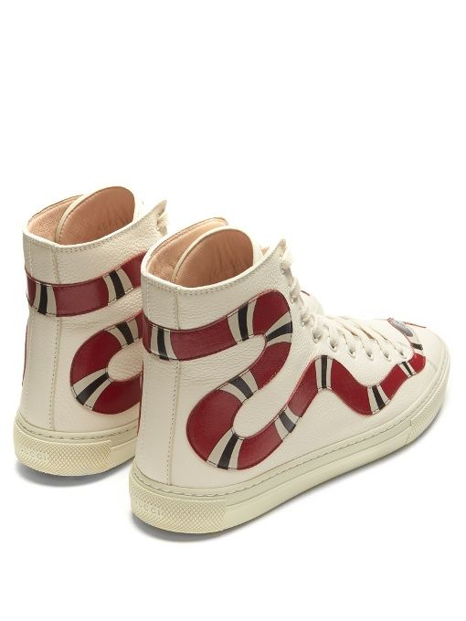 c85a8590125c4 Gucci Major Snake-Appliqué High-top Leather Trainers