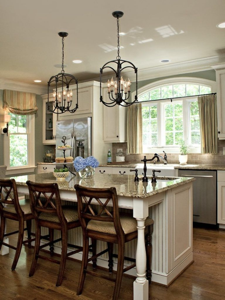 cozy kitchen design with granite countertops and lovely chandeliers granite kitchen on farmhouse kitchen granite countertops id=38810